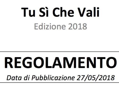 Nuovo Regolamento Disponibile…TSCV 2018